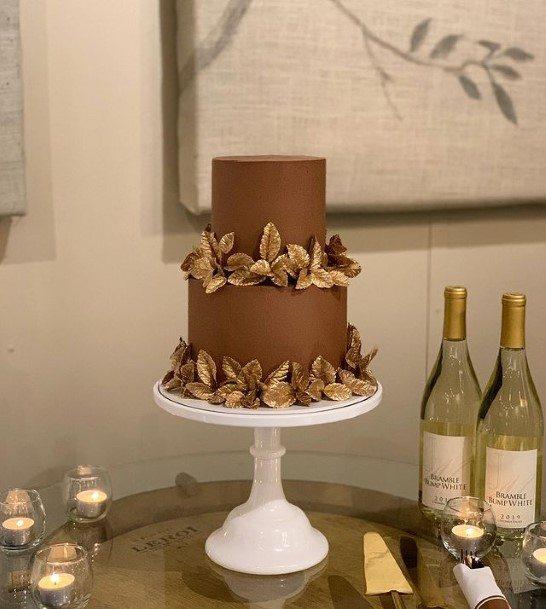 Deep Brown Chocolate Wedding Cake