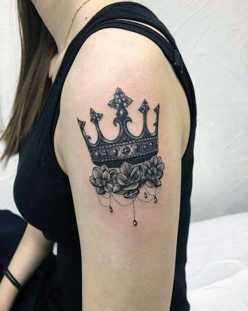 Deep Grey Designer Crown Tattoo Womens Upper Arms