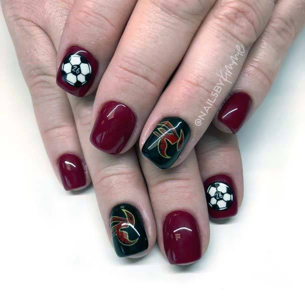 Deep Maroon And Black Sport Nail For Women