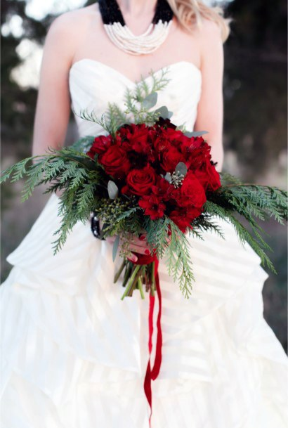Deep Red Roses Christmas Wedding Flowers