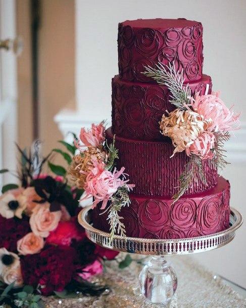 Deep Red Velvet Wedding Cake