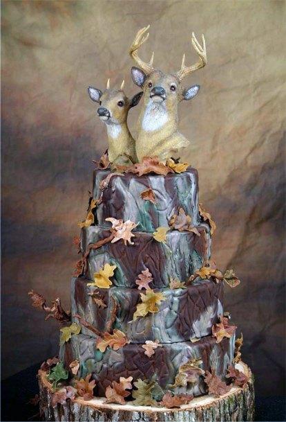 Deer Cake Topper Camo Wedding