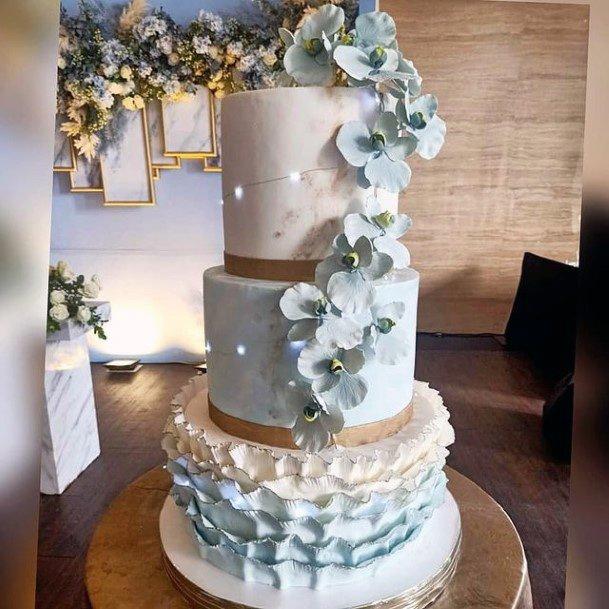 Delicate Blue White Wedding Cake Art