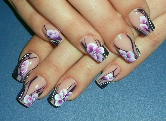Delicate Pink And Black Orchid Nails
