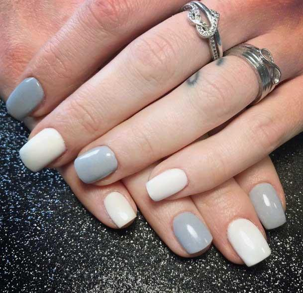 Delicate Tones Light Grey And White Colored Nails