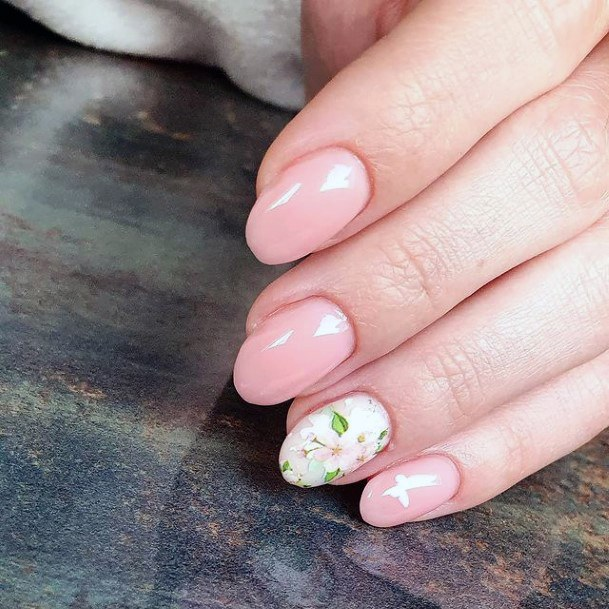 Delicate White Flower Accent April Nails Women