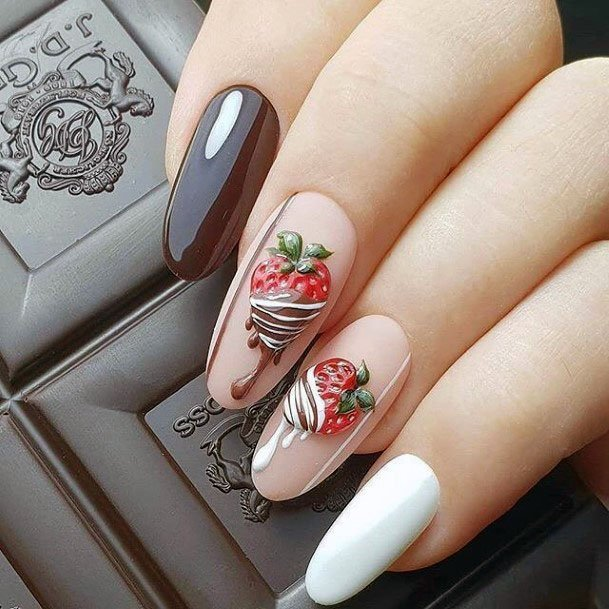 Delicious Chocolate Dipped Drizzle Strawberry Nail Design Ideas For Ladies