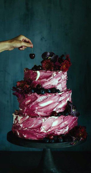 Delicious Dark Berries And Silk Icing In Berry Tones Wedding Cake Ideas