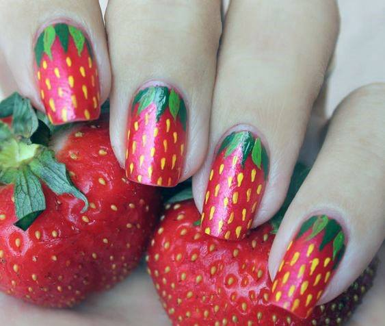 Delicious Red Strawberry Nail Design For Girls