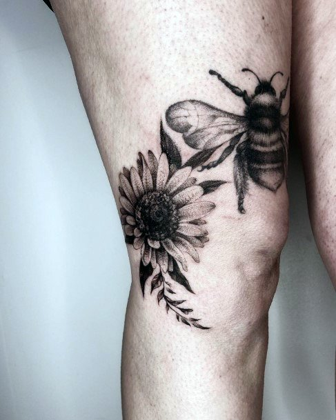 Delightful Floral And Bee Tattoo Womens Thighs Realistic