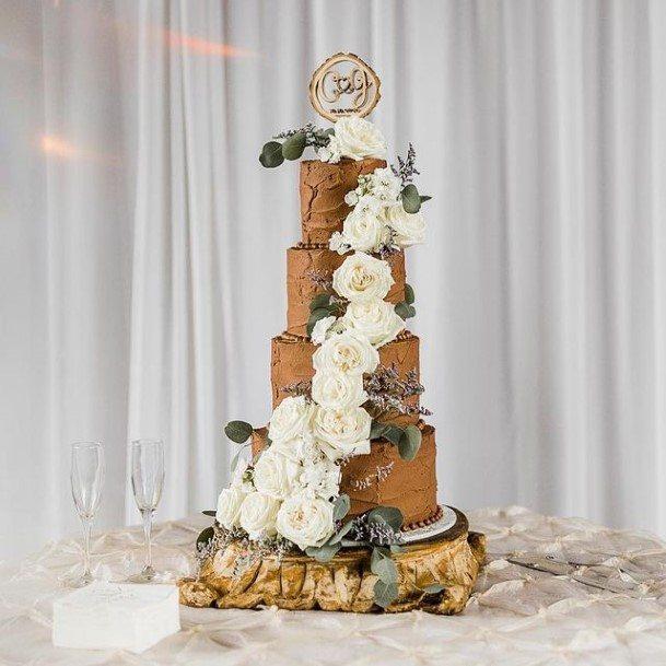 Delightful Roses On Chocolate Wedding Cake