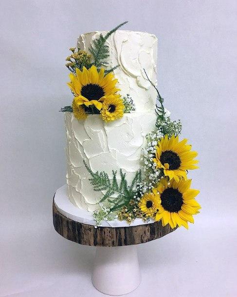 Delightful Sunflowers On Womens Wedding Cake