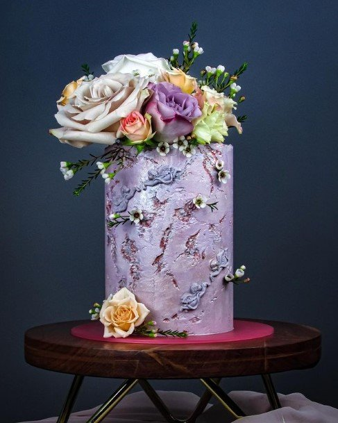 Deluxe Purple Buttercream Wedding Cake