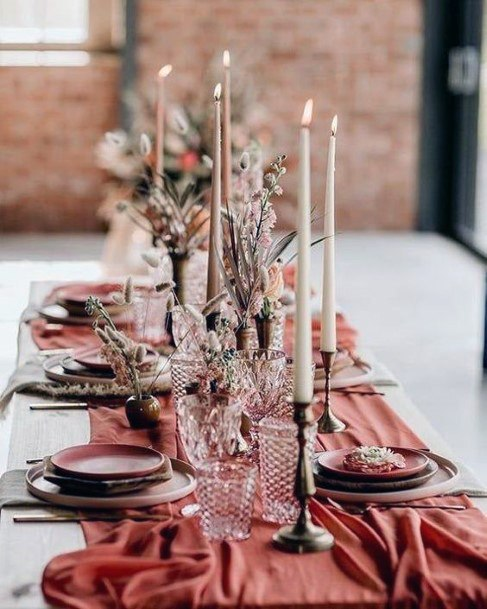 Desert Inspired Dark Oranges And Vintage Glassware Wedding Centerpiece Ideas