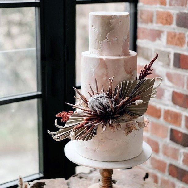 Desert Inspired Dried Floral And Sandy Marble Design Wedding Cake Ideas