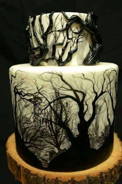 Deserted Trees Halloween Wedding Cake