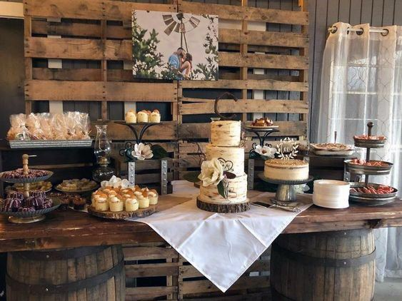 Dessert Table Wooden Decor Inspiration Rustic Wedding Ideas
