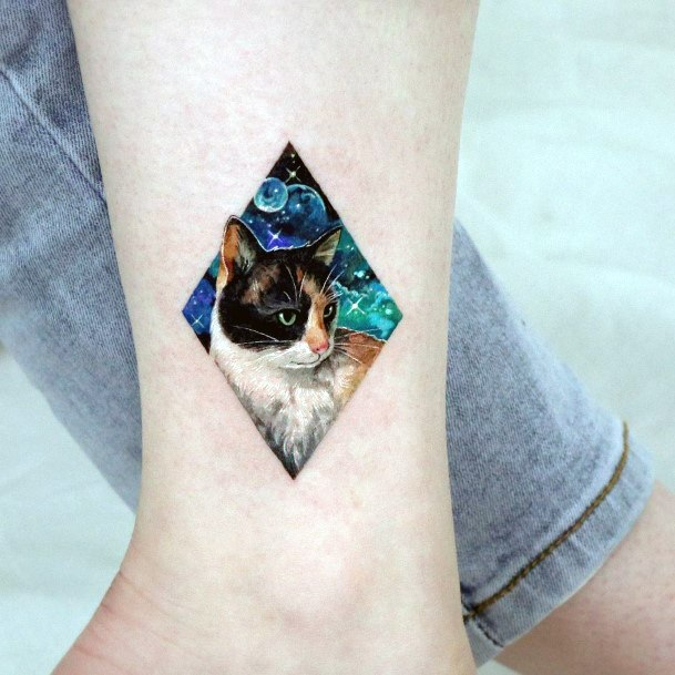 Diamond Framed Universe With Cat Tattoo For Women