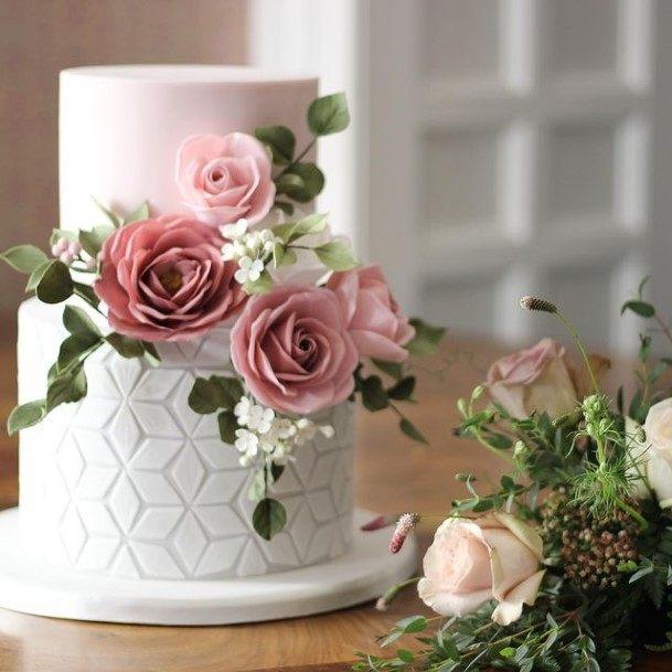 Diamond Textured 2 Tier Wedding Cake