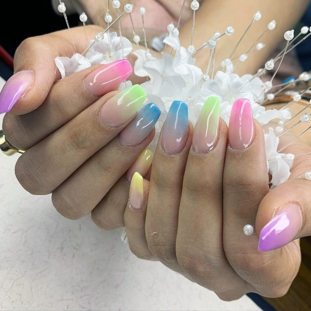 Different Colored Nails With Ombre Effect