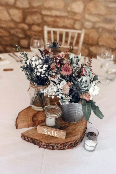 Dining Table Rustic Wedding Flowers