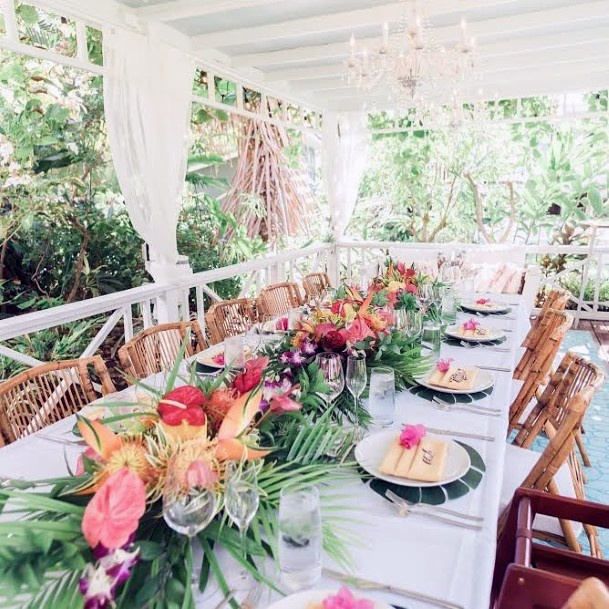 Dining Table Wedding Tropical Flowers