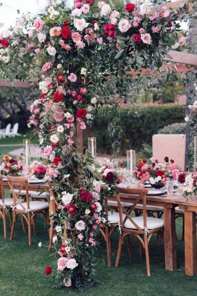 Dining Table With Red Flowers Wedding