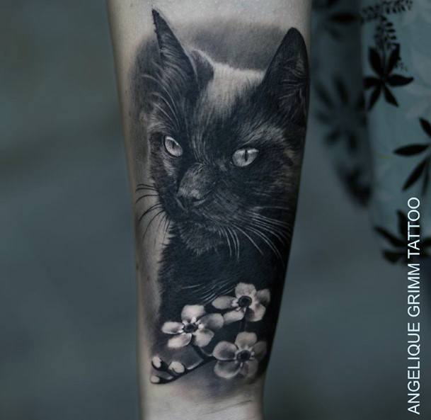 Divalike Black Cat With Flowers Tattoo For Women
