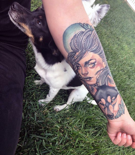 Dog And Lady Tattoo For Women