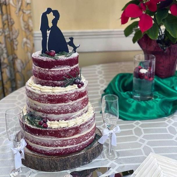 Dog And Romantic Love Red Velvet Wedding Cake