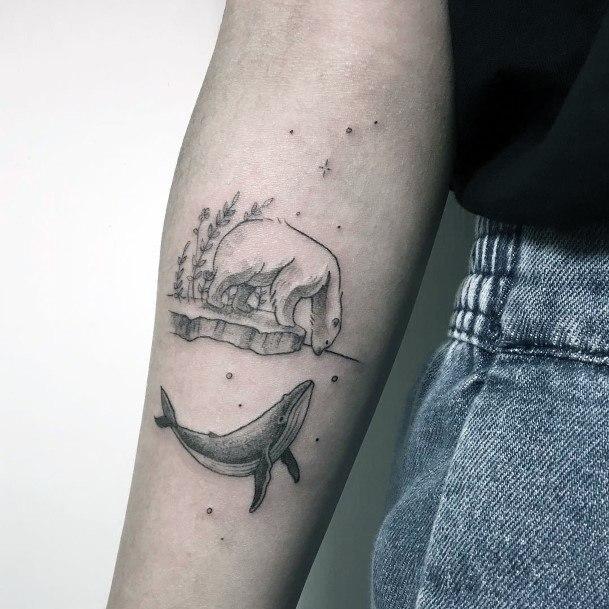 Dolphin And Bear Friendship Tattoo Womens Hands