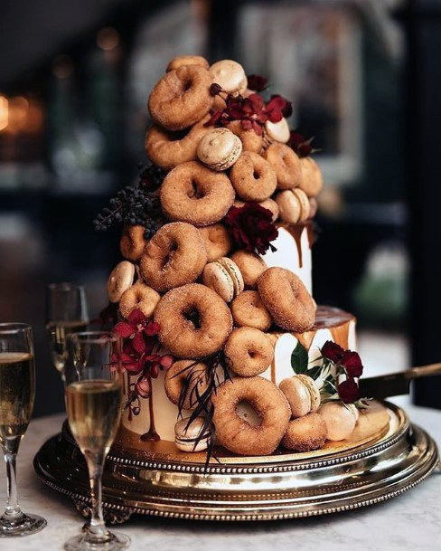 Donuts On Wedding Cake Unique