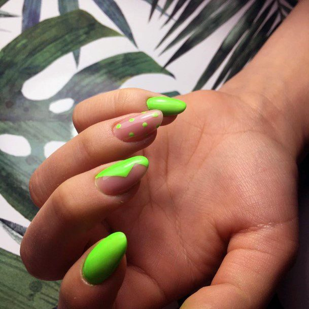 Dotted And Jaw Design Neon Green Nails