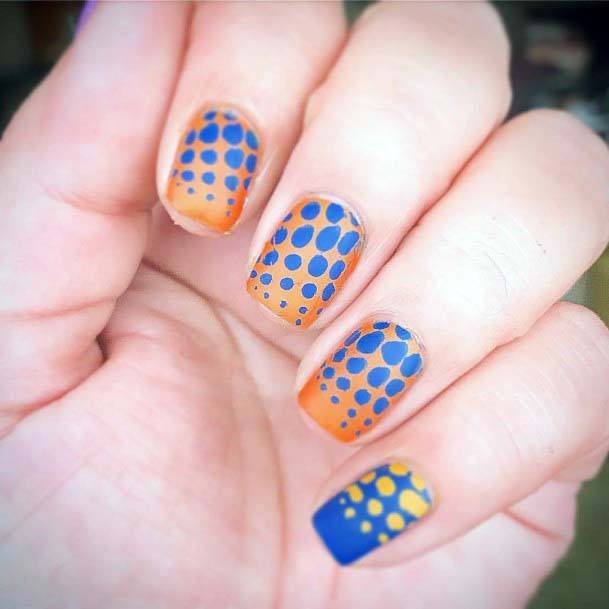 Dotted Blue And Orange Nails Matte For Women