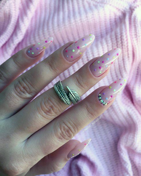 Dotted Confetti Design Art Natural Nail Ideas For Women