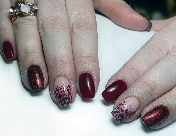 Dotted Maroon Red Nail Colour