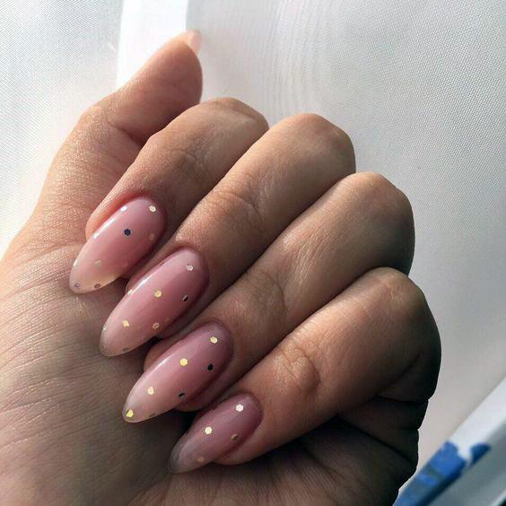 Dotted Rose Natural Nail Ideas For Women