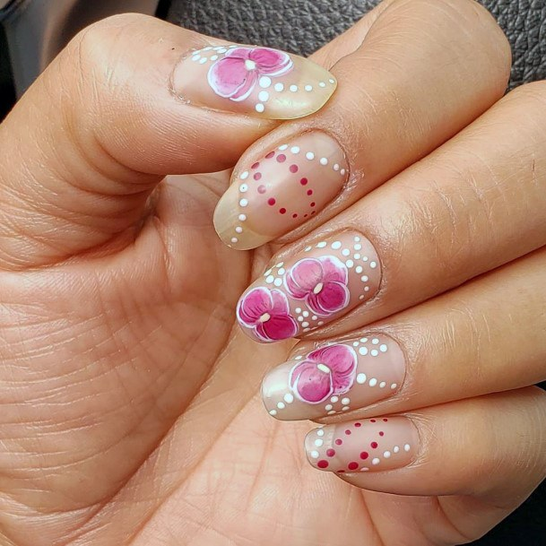 Dotted White And Pink Orchids Nail Art