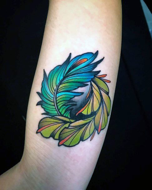 Double Toned Green Feather Tattoo Womens Arms