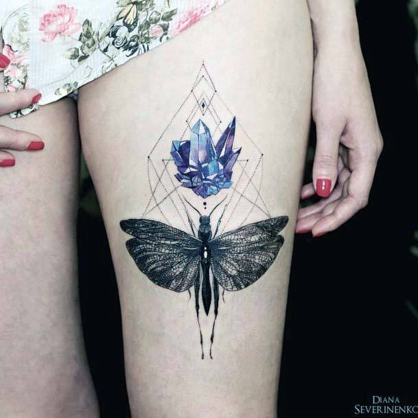 Dragon Fly And Blue Crystal With Geomteric Lines Tattoo Womens Thighs