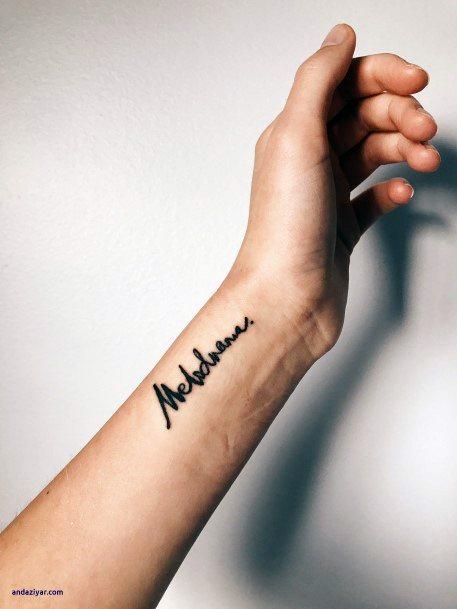 Dramatic Font Tattoo Womens Wrists