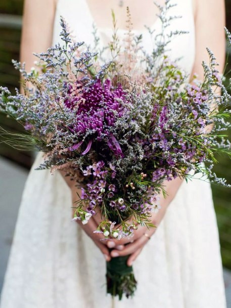 Dramatic Purple Lavender Wedding Flowers Bouquet