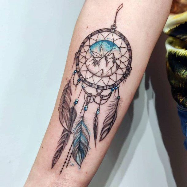 Dreamcatcher Tattoo For Women With Feathers