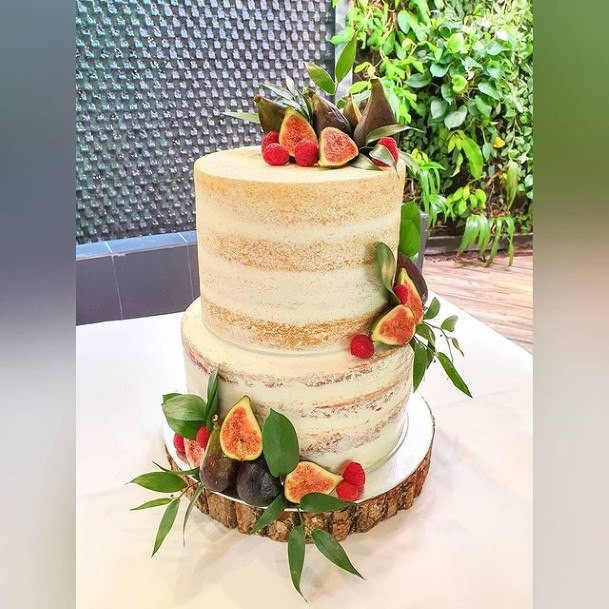 Dried Apricots Semi Naked 2 Tier Wedding Cake