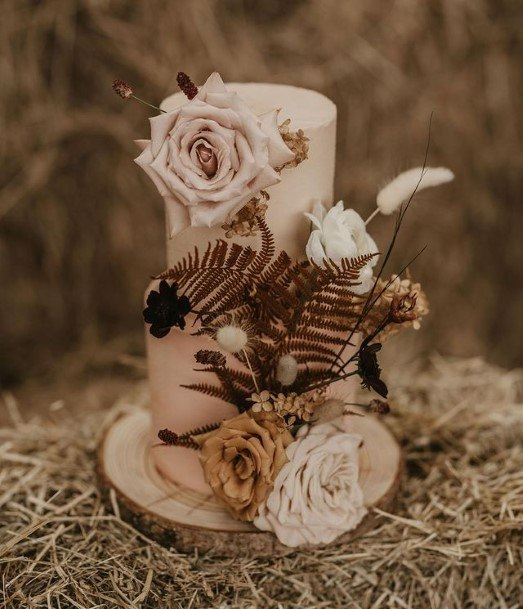 Dry Forest Themed Buttercream Wedding Cake