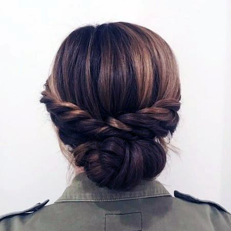 Dual Braid Chignon Hairstyle For Women