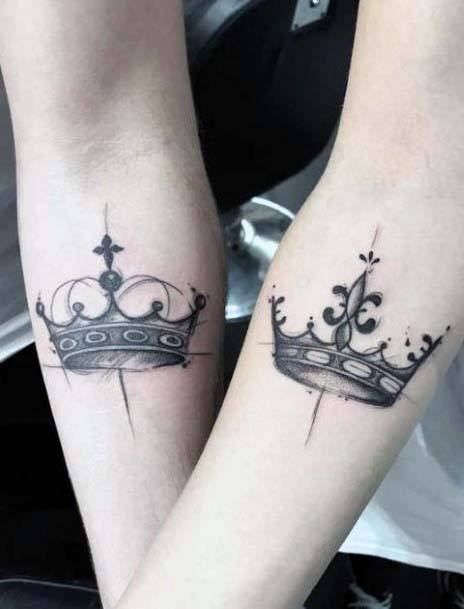 Dual Crown Tattoo Womens Inner Wrists