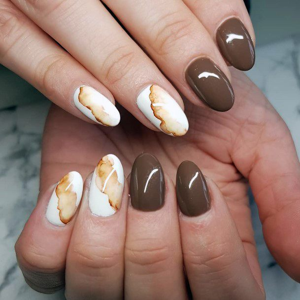 Dual White And Brown Nails Women
