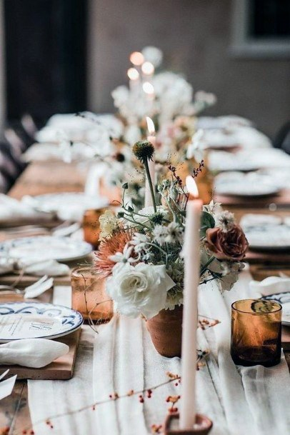 Earthy Neutral Small Floral Vases Wedding Centerpiece Ideas
