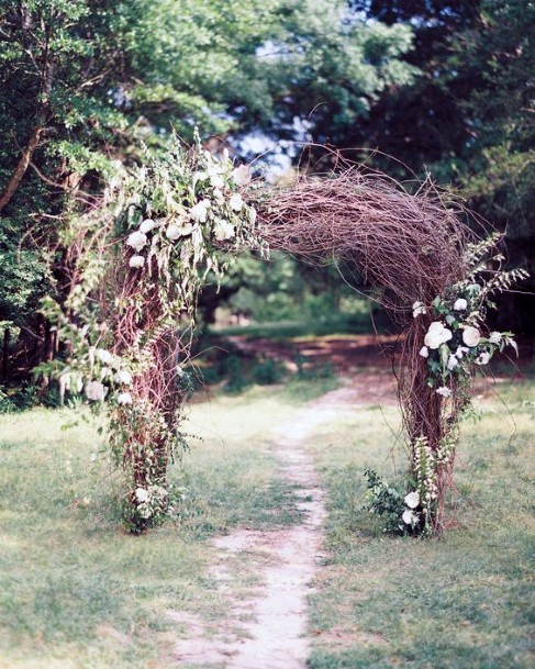 Earthy Tree Branches Ceremony Arbor Rustic Wedding Ideas